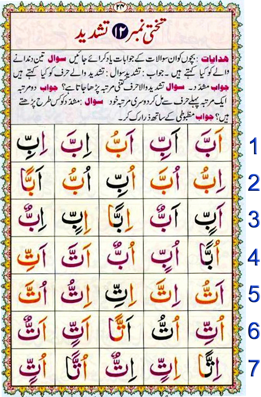 Noorani Qaida Lesson No 23 pdf, Qaida for kids learning Free, Noorani qaida English page 23, NooraniQaida Book