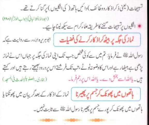 Namaz ke baad ke azkar in Urdu
