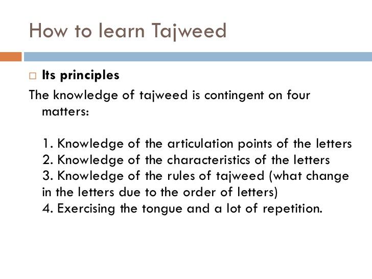 How to learn tajweed in English