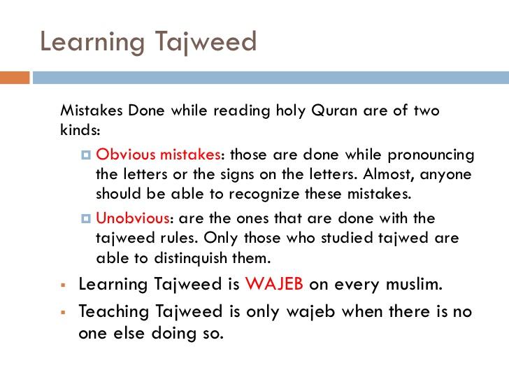 Learning Tajweed in English language