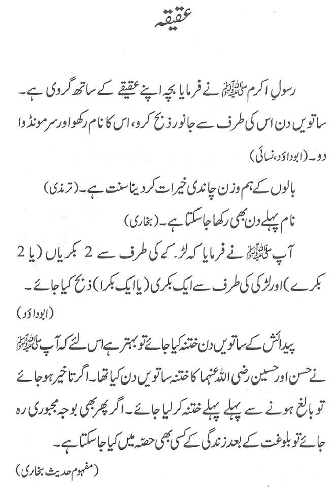 aqiqah in Urdu