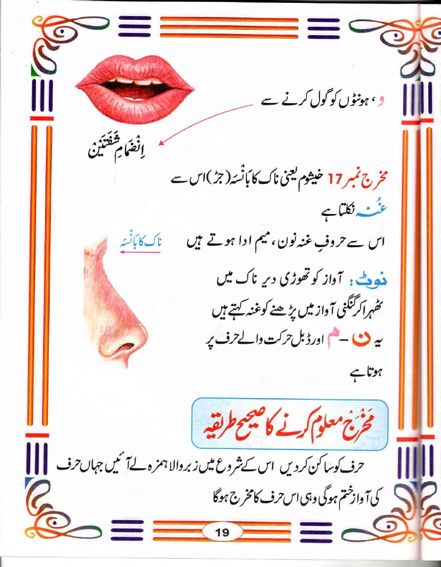 Makhrij maloom karne ka tarika-ghunnah rules of Meem and Noon in Urdu
