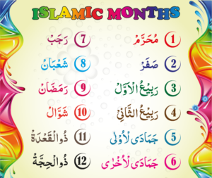 Islamic Months names in Urdu Arabic Hindi text