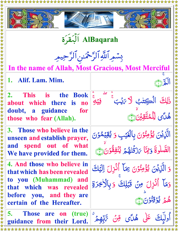 Surah Al Baqarah Ayat No 1 To 5 Arabic Text pdf in English Translation