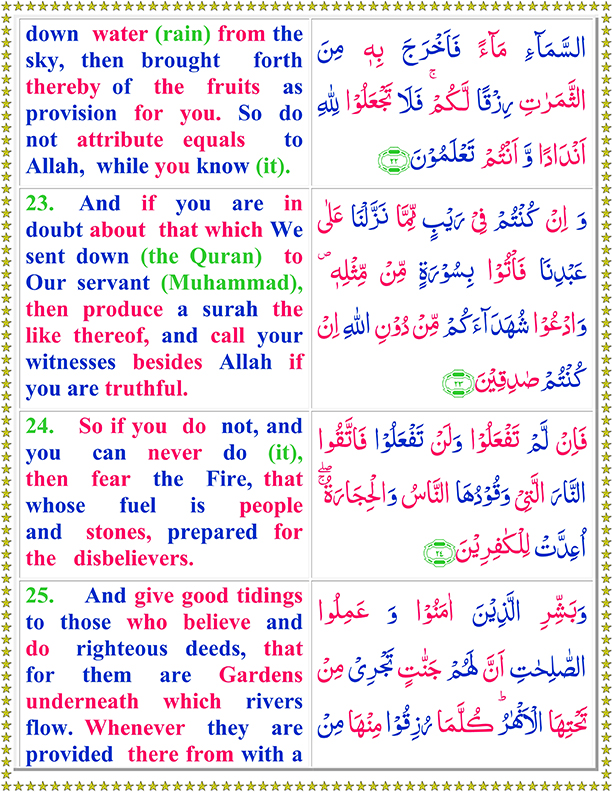 Surah Al Baqarah Ayat No 23 To 25 Arabic Text reading in English Translation