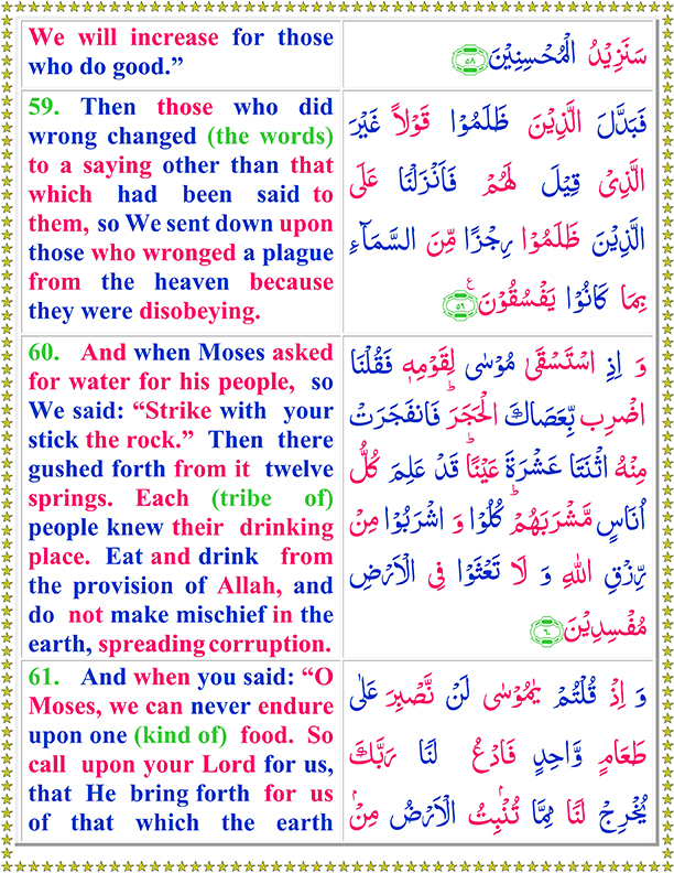 Surah Al Baqarah Ayat No 59 To 61 Arabic Text reading in English Translation