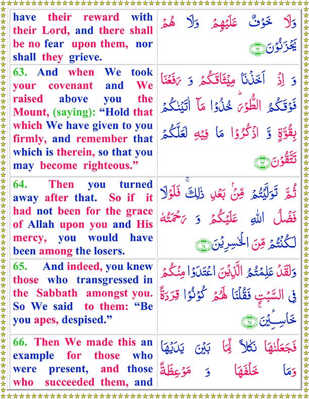 Surah Al Baqarah Ayat No 63 To 66 Arabic Text reading in English Translation
