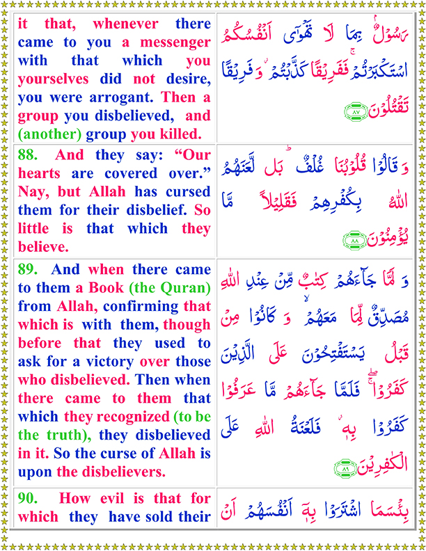 Surah Al Baqarah Ayat No 88 To 90 Arabic Text Reading in English Translation