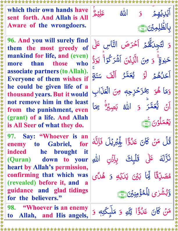 Surah Al Baqarah Ayat No 96 To 98 Arabic Text Reading in English Translation