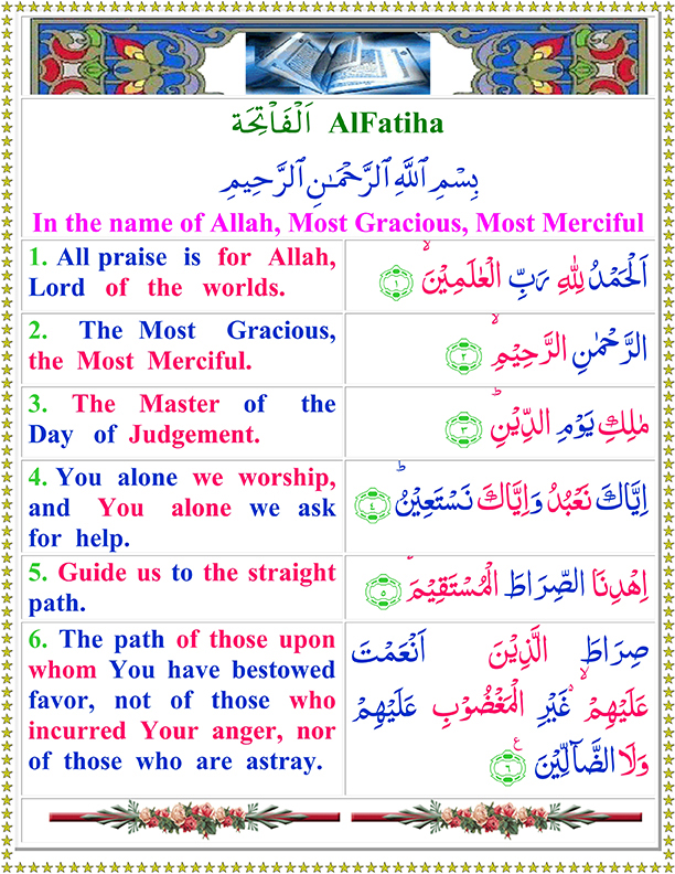 Surah Al Fatiha Ayat No 1 to 6 Arabic Text Read in English Translation