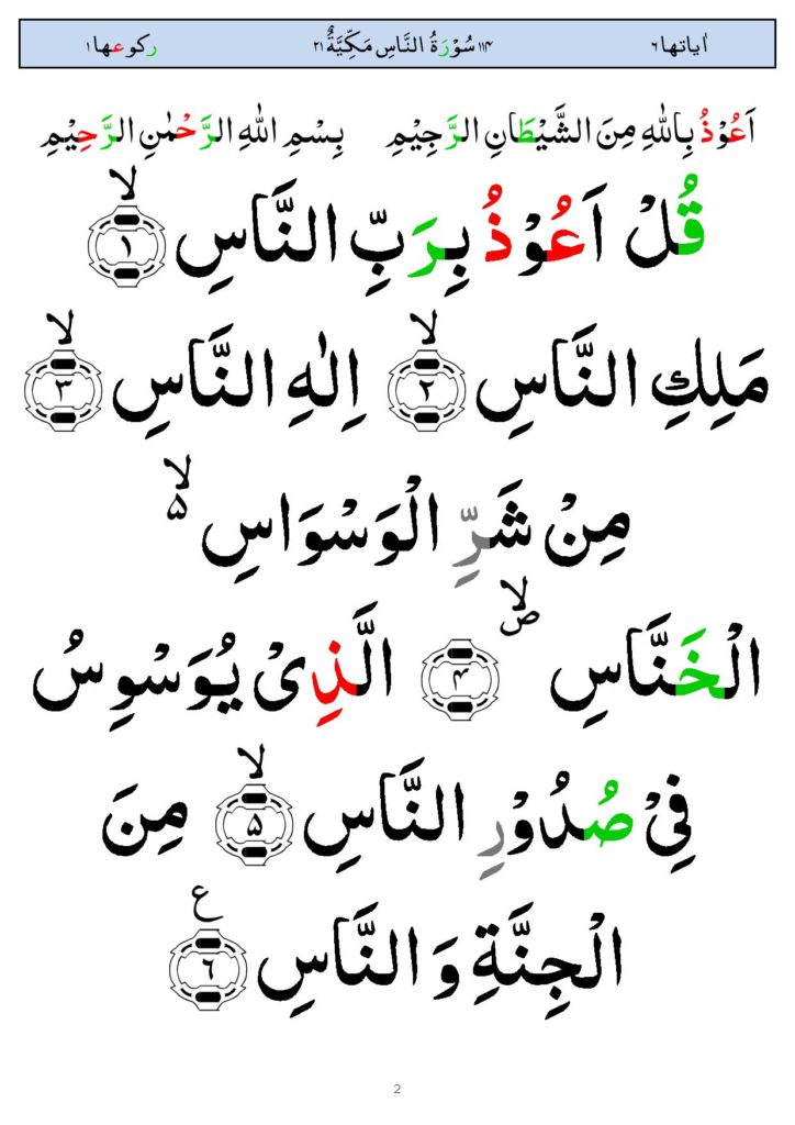 Surah Nas In Arabic, Read Surah An Nas With Image HD ...