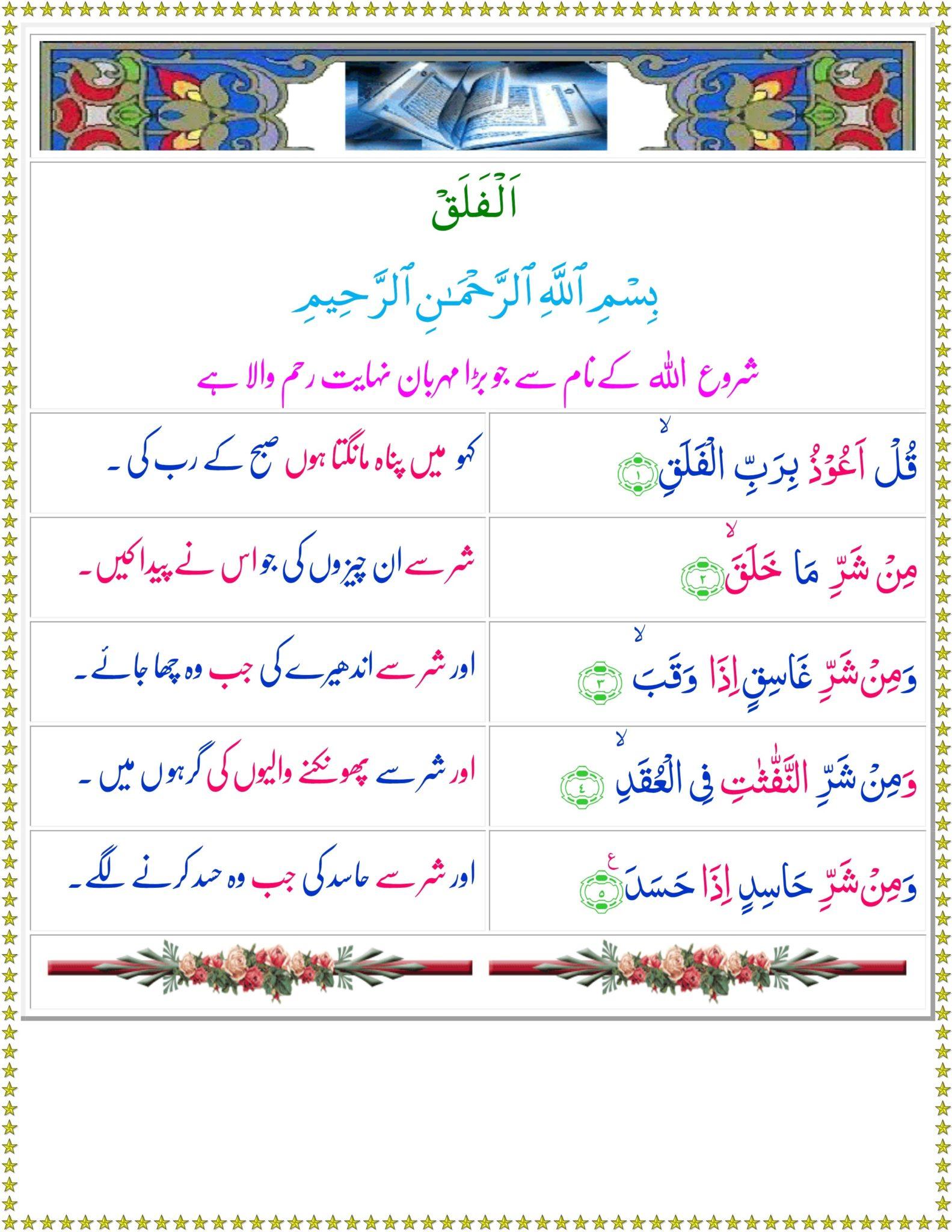 surah Falaq translation in Urdu